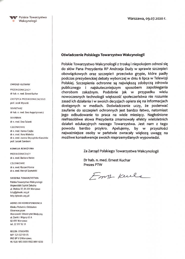 Stanowisko Polskiego Towarzystwa Wakcynologii w sprawie słów Prezydenta RP na temat szczepień ochronnych 09.07.2020